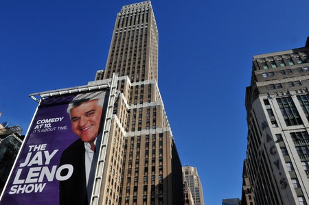 comedy show: NY - OCT 11: A Giant poster of The Jay Leno Show on October 10 2009 in Manhattan New York. It was a comedy show created by and starring Jay Leno from Sep 14, 2009 to Feb 9, 2010 on NBC Editorial