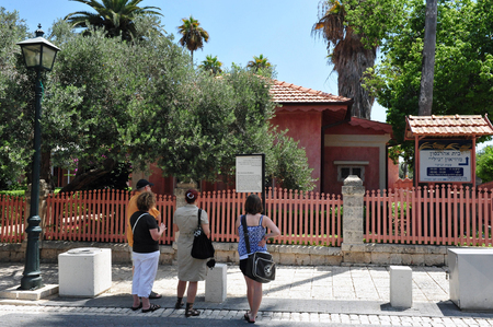 ww1: ZIKHRON,ISR - AUG 07:Visitors in N.I.L.I Museum at Aharonsons House on Aug 07 2009.Its contains historical documentation and exhibits about N.I.L.I. the first Hebrew (Israeli) underground during WW1