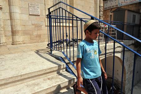 middle east conflict: HEBRON, ISRAEL - SEP 08:Israeli children in Beit Hadassah settlement on September 09 2009.Beit Hadassah settlement is the first Jewish settlement in the center of Hebron.