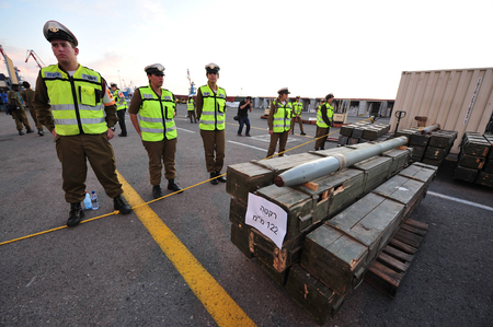 intended: ASHDOD, ISR - NOV 04:500 tons of weapons, rockets and missiles uncovered aboard the cargo ship - Francop on Nov 04 2009.The weapons originate from Iran and intended to Hizbullah terror organization.