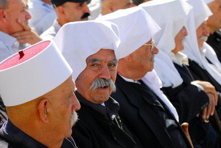 MAJDAL SHAMS - SEPTEMBER 03: Druze men from Majdal Shams,Israel on September 03 2009.The number of Druze people worldwide exceeds one million, with the vast majority residing in the Middle East.