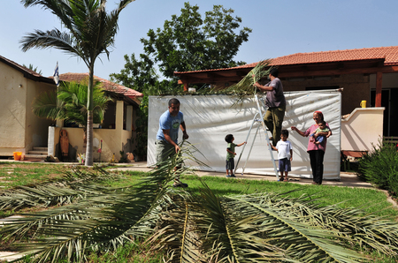 sukkoth festival: NETIVOT - OCTOBER02: Israeli Jewish family builds a Sukkah on the eve of the Jewish holiday, Sukkoth on October 02, 2009 in Netivot, Israel.