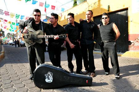 elvis presley: MEXICO CITY - FEB 28 :Mexican Elvis Presley Look and sound alike impersonators on February 28 2010 in Mexico City, Mexico.Elvis was an American singer and actor (1935- 1977)