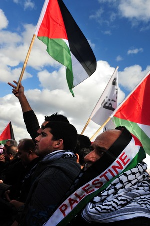 palestinian: EREZ CROSSING - DECEMBER 31:A large group of Palestinian Arabs carry Palestinian flags during a protest on the Gaza-Israel border on December 31 2009.The entire  Palestinian population in Gaza Strip is 1.6 million people. Editorial