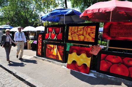 hape: MEXICO CITY - FEB 27:Colorful paintings on display at the art market on February 23 2010 in San Angel Mexico City, Mexico.It has one of the  best contemporary art collections in Mexico. Editorial