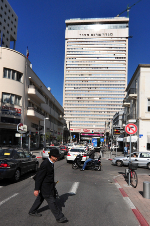 shalom: TEL AVIV - MAY 09:Shalom Meir Tower on May  09 2010 in Tel Aviv, Israel.Its the second most populous city in Israel after Jerusalem, with a population of 410,000 and a land area of 52 km2 (20 sq mi)