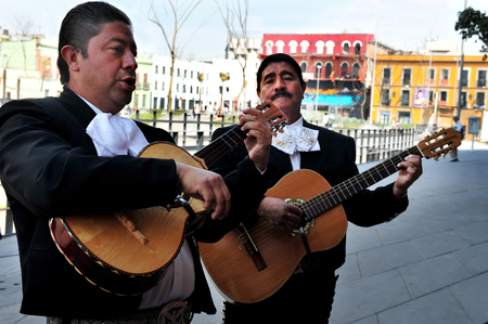 MEXICO CITY - FEB 24 :Mariachi band play mexican music on February 24 2010 in Garibaldi Square in Mexico City, Mexico.The Plaza is best known as the Mexico City home of mariachi music.
