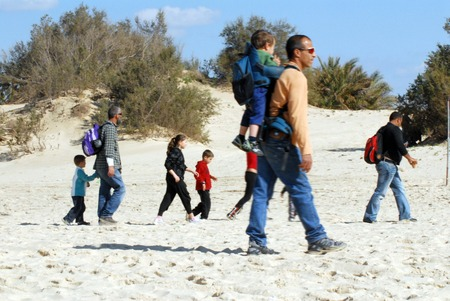 ashdod: ASHDOD, ISR - FEB 06: Israeli families visit the nature reserve Nitzanim near Ashdod on Feb 06 2010.Ashdod is the sixth largest city in Israel with population of over 200,000 people.