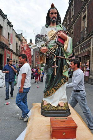 eligion: MEXICO CITY - FEB 23: A statue of jesus in the streets of Mexico City, Mexico on February 23 2010 .The Catholic Church is the worlds largest Christian church, and its largest religious grouping. Editorial