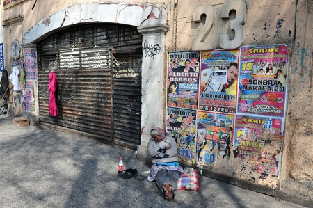 social outcast: MEXICO CITY - FEB 24: Mexican woman homeless on February 24 in Mexico City Mexico.44 percent of the Mexican population,over 49 million, lives below the poverty line.