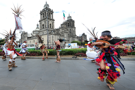 MEXICO CITY - FEB 23: Ancient indian folklore outside Catedral Metropolitana on February 23 2010 in Mexico City, Mexico. Its the oldest and largest cathedral in all of Latin America.