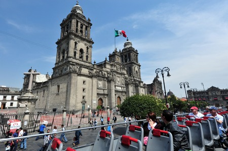 mexico: MEXICO CITY -  FEB 28 2010: The Metropolitan Cathedral at the Zocolo square in Mexico City, Mexico. It is the largest cathedral in the Americas and seat of the Roman Catholic Archdiocese of Mexico