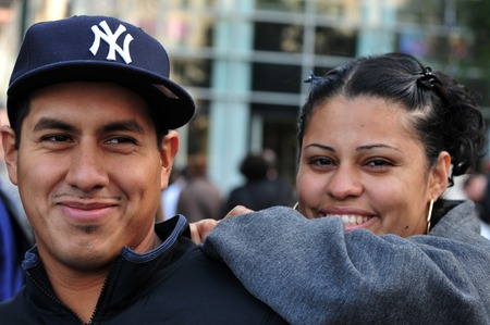 hispanic americans: NY - OCT 11: Happy Latino Americans couple on October 11 2009  in Manhattan New York.With more than 7% of the population, Hispanic Americans are the second largest minority in the United States.