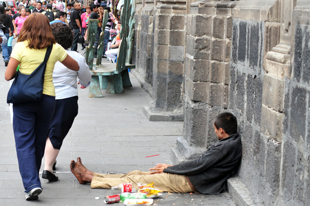 MEXICO CITY - FEB 23: Mexican man homeless on February 23 in Mexico City Mexico.44 percent of the Mexican population,over 49 million, lives below the poverty line.