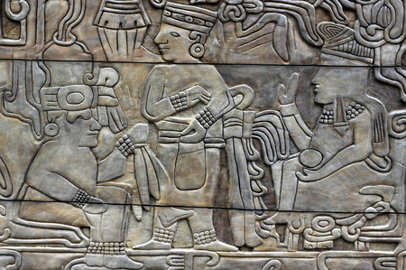 theology: MEXICO CITY - MAR 20:Engraving from the pre-Columbian era on March 20 2010.Mexican civilizations inventions and advancements including pyramid-temples, mathematics, astronomy, medicine, and theology.
