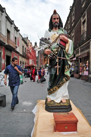 catholicism: MEXICO CITY - FEB 23 2010:Statue of Jesus in Mexico City, Mexico.Roman Catholicism continues to be the dominant religion in Mexico today, at nearly 89%, though that percentage is starting to decline.