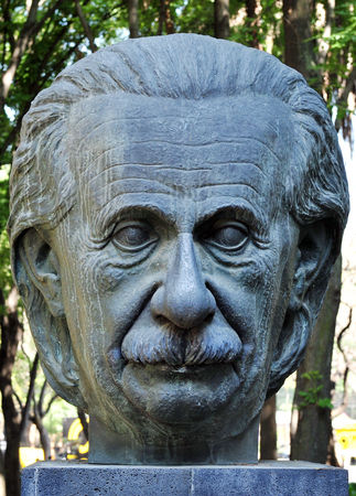 albert: MEXICO CITY - FEB 25:Statue of Albert Einstein on February 25 2010 in Mexico City.Was theoretical physicist who developed the general theory of relativity,effecting a revolution in physics(1879 -1955)