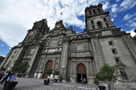 latin america: MEXICO CITY -  FEB 23: Catedral Metropolitana at the Zocalo Square on February 23 2010 in Mexico City, Mexico.Its the oldest and largest cathedral in all of Latin America. Editorial