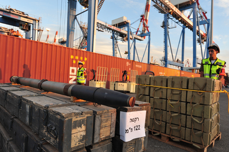 ashdod: ASHDOD, ISR - NOV 04:500 tons of weapons, rockets and missiles uncovered aboard the cargo ship - Francop on Nov 04 2009.The weapons originate from Iran and intended to Hizbullah terror organization.