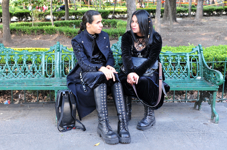 MEXICO CITY - FEB 25: Mexican gothic couple on February 25 2010 in Mexico City, Mexico.The goth subculture started during the early 1980s in the United Kingdom as a gothic rock scene.