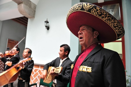 PUEBLA - FEB 25 :Mariachi band play mexican music on February 25 2010 in Puebla, Mexico. It's Mexican musical tradition that dates back to the 19th century