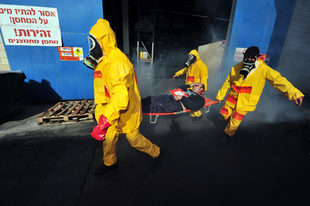 KIRYAT MALAKI, ISRAEL - DECEMBER 2: The Israeli emergency forces held an exercise with a scenario that prepared for a possible rocket attack on a chemical factory on December 2 2009 in Kiryat Malaki, Israel.
