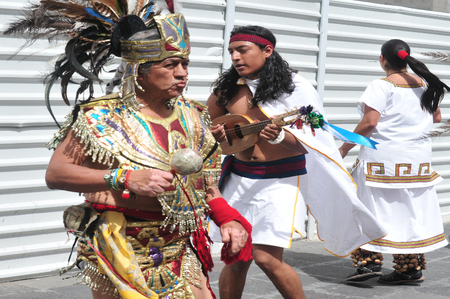 make public: MEXICO CITY -FEB 23: Ancient indian Aztec empire folklore at the Zocalo Square on February 23 2010 in Mexico City, Mexico.It has been a gathering place for Mexicans since Aztec times