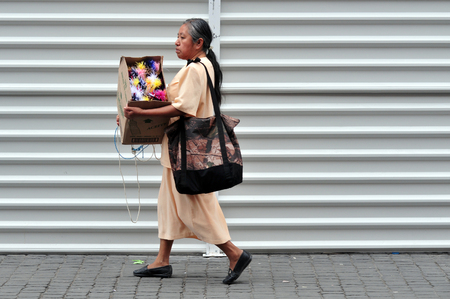 mexican woman: MEXICO CITY - FEB 23: Mexican woman walks in the street on February 23 2010 in Mexico City, Mexico. Mexican women were granted the vote in 1953.