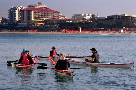 existed: HERZLIYA - FEB 10: Group of Sea Kayaks kayaking together on February 10 2010 in Herzliya, Israel.Research has indicated that the kayak has existed for at least 4,000 years.