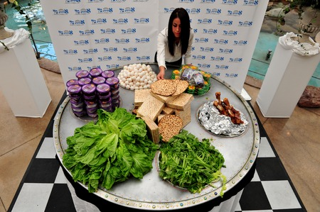 judaical: ASHDOD - APRIL 14: The biggest Passover seder plate in the world was shown in Ashdod, Israel on April 14, 2011. The seder plate is an array of food to be to be blessed on on the upcoming Jewish holiday of Passover. Passover is a Jewish holy day and festiv