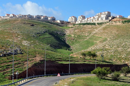 west bank: MAALE ADUMIM, ISR - MAR 13:The skyline of Maale adumim on Mar 13 2010.Its the third largest Israeli settlement in the West Bank and a city seven km from Jerusalem. In 2011, the population was 39,000.
