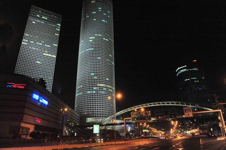 azrieli tower: TEL AVIV - NOV 10:Azrieli Center skyscrapers at night on Nov 10 2011 in Tel Aviv, Israel.Tel Aviv has the second-largest economy in the Middle East after Dubai.