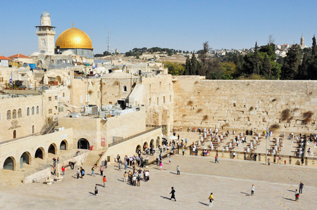 hassid: JERUSALEM - NOV 05: The  Western Wall and Temple Mount on November 05 2011 in Jerusalem, Israel.Its the most sacred site recognized by the Jewish faith outside of the Temple Mount itself.
