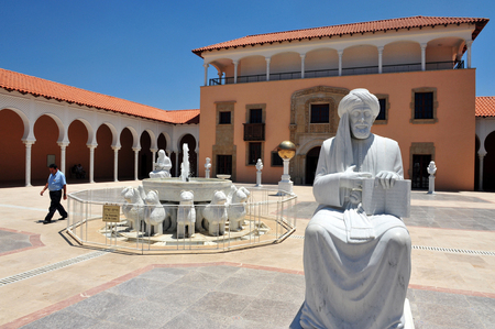 recanati: CAESAREA - JULY 06:Maimonides Rambam Rabbi Moshe Ben Maimon statue at the Ralli Museum Recanati Caesarea Israel on JULY 06 2010.Its an Art Museum founded by Harry Recanati in 1993 Editorial