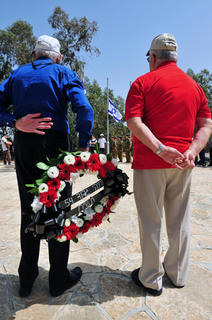 israel war: SDEROT - APRIL 28: The Israeli war veterans participating in a memorial ceremony on April 28 2009 in Sderot, Israel. The day commemorates the deaths of Israeli soldiers at war Editorial
