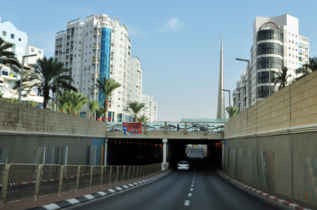 ashdod: ASHDOD, ISR - OCT 27:Menahem Begin Boulevard  and tunnel in Ashdod on October 27 2010. Ashdod is the sixth largest city in Israel with population of over 200,000 people. Editorial