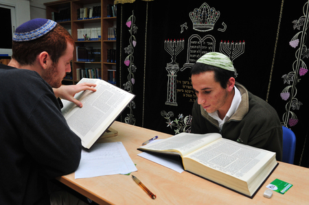 mishnah: JERUSALEM - JANUARY 06: Israeli Jewish students learn Torah on Jan 06 2011 in Jerusalem, Israel.  Yeshivat Hesder is an Israeli yeshiva program which combines advanced Talmudic studies with military service in the Israel Defense Forces, usually within a R