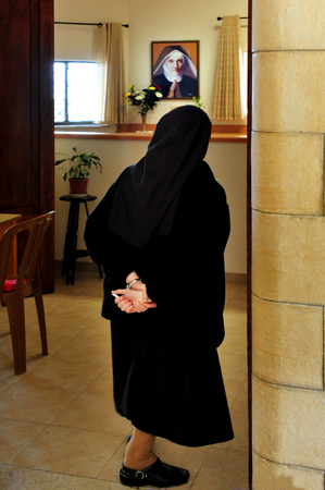 sermon: TIBERIAS - JANUARY 13:A nun inside the Roman Catholic chapel at Mount of Beatitudes on Jaunary 13 2011.It believed that this is where Jesus delivered the Sermon on the Mount. Editorial
