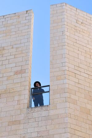 synagogues: JERUSALEM - NOV 05:Orthodox Jewish man at the Jewish quarter on November 05 2010 Jerusalem,Israel.The quarter is inhabited by around 2,000 residents and is home to numerous yeshivas and synagogues.