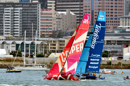 slipway: AUCKLAND, NEW ZEALAND - MARCH 18 2012: Leg 5 in Auckland, New Zealand of the Volvo Ocean Race 2011-12 before departing to Itajai, Brazil on Sunday 18 March 2012.