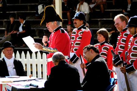 reenact: KAITAIA- FEB 6:British people reenact the signing of the treaty of Waitangi on February 6 2005 in Kaitaia NZ.Its New Zealand public holiday to celebrate the signing of the Treaty of Waitangi in 1840