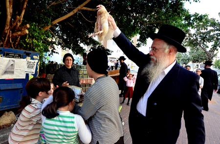 jewish community: ASHDOD - SEPTEMBER 15 :Ultra orthodox Jewish man waves a chicken over his family head during the Kaparot ceremony held on September 15 2010 in Ashdod Israel. Editorial