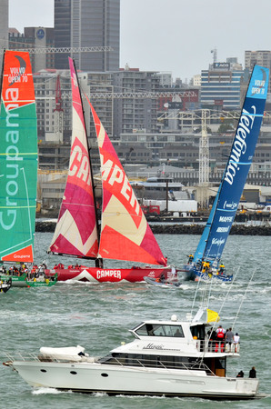 ketch: AUCKLAND, NEW ZEALAND - MARCH 18 2012: Spectators view leg 5 in Auckland, New Zealand of the Volvo Ocean Race 2011-12 before departing to Itajai, Brazil on Sunday 18 March 2012.
