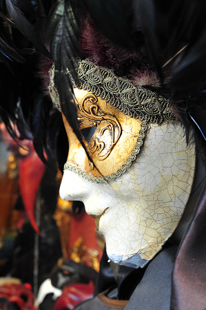 assignation: VENICE - MAY 02:Venetian masks on display on May 02 2011.Masks were worn in the small city of Venice to disguise the wearer from any number of illicit activities: gambling, dancing, clandestine affairs or even political assignation. Editorial