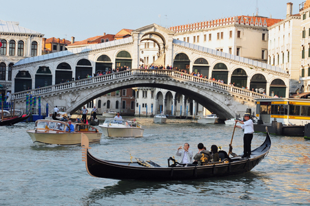 rialto: View of the Grand Canal in Venice, Italy with the Rialto bridge in the background. Editorial