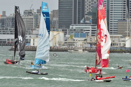 ketch: AUCKLAND, NEW ZEALAND - MARCH 18 2012: Leg 5 in Auckland, New Zealand of the Volvo Ocean Race 2011-12 before departing to Itajai, Brazil on Sunday 18 March 2012.