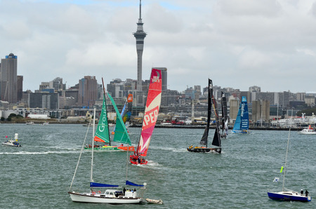 departing: AUCKLAND, NEW ZEALAND - MARCH 18 2012: Leg 5 in Auckland, New Zealand of the Volvo Ocean Race 2011-12 before departing to Itajai, Brazil on Sunday 18 March 2012.