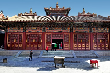 people's cultural palace: BEIJING - MAR -13: Visitors at The Lama Temple on March 13 2009 in Beijing, China.Its one of the largest and most important Tibetan Buddhist monasteries in the world.