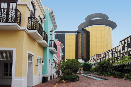 seaports: MACAU-FEB 20:Portuguese buildings in Macau Fishermans Wharf on February 20 2009.It includes stores and restaurants in buildings built in style of famous world seaports such as Amsterdam and Venice