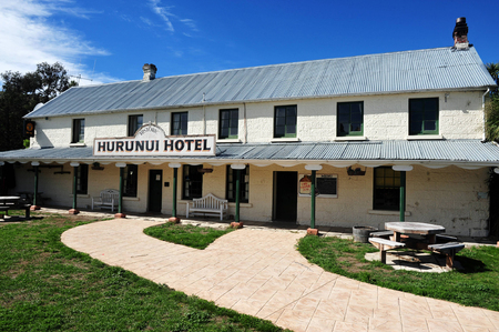voted: HANMER,NZ - MAR 15:The historic Hurunui Hotel and Vineyard on March 15 2009.New Zealand was voted the  best travel destination by Lonely Planet two years in a row.